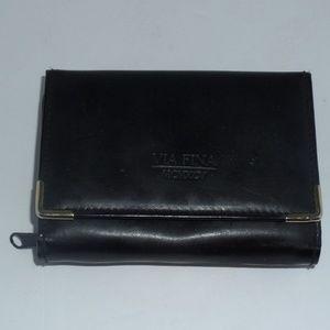 Via Fina MCMXCV Black Leather Tri-Fold Wallet
